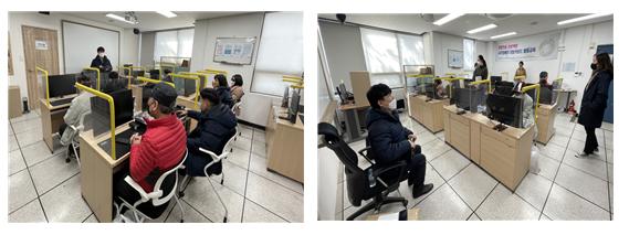 (좌) 리보키보드 활용반에 참여한 교육생분들의 모습  (우) 리보키보드 활용반 수업 중 강의를 하시는 강사님 모습