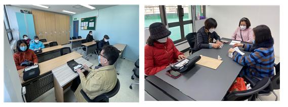 (좌) 중급점자교육을 듣고 있는 교육생들 모습  (우) 기초점자교육에 참여하여 교육을 받공 있는 교육생들 모습