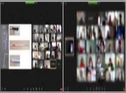 ◉ 좌측-인천시각장애인복지관이 [장애체험] 동영상 강의를 하고 있는 모습. 우측-장애체험 동영상을 경청하고 있는 교육생들의 모습.
