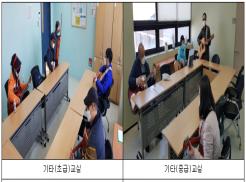 좌측사진은 참여 이용자들에게 초급반의 전반적인 교육과정을 소개하고 있는 사진입니다. 우측사진은 참여 이용자들에게 중급반의 전반적인 교육과정을 소개하고 있는 사진입니다.