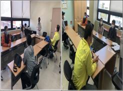 좌사진은 중국어회화교육 시작 전에 강사가 교육생들과 인사를 하고 있는 사진입니다.  우사진은 중국어회화 강사와 교육생들간 중국어로 이름을 알려주고 있는 사진입니다.