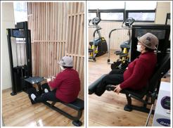 좌상단 사진은 건강드림실에서 레그익스텐션기구를 활용 다리운동을 하고 있는 사진입니다. 우상단 사진은 건강드림실에서 로잉머신기구를 활용 등운동을 하고 있는 사진입니다.