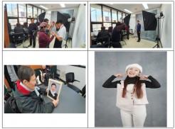 상단좌측:봉사자가 참여자의 옷매무새를 잡아주고 있는 모습 상단우측:사진작가가 사진을 찍는 모습 하단좌측: 완성된 장수사진을 보고 흐믓해하는 참가자 하단우측: 한껏 폼을 잡은 멋진 프로필 완성사진