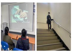 (좌) 기초보행교육 참여하여 이론교육 내용을 듣고 있는 교육생 사진  (우) 흰지팡이를 사용하여 계단을 오르내리는 실습에 참여한 교육생 사진