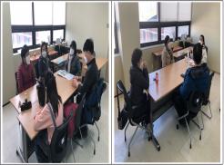 좌 사진은 중졸검정고시교육 수학과목을 진행 하고 있는 사진입니다.  우 사진은 중졸검정고시교육 국어, 과학과목을 진행하고 있는 사진입니다.