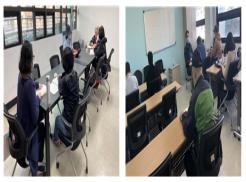 (좌) 점자교육 기초반 일대일 수업을 듣고 있는 교육생들 사진  (우) 기초점자심화반 수업에 참여한 교육생들 사진